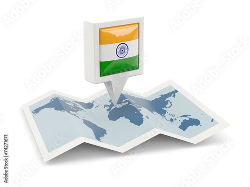canvas print picture Square pin with flag of india on the map