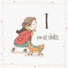 Cute vector Alphabet Christmas. Letter I - Ice Skates