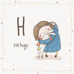 Cute vector Alphabet Christmas. Letter H - Hugs