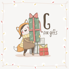 Cute vector Alphabet Christmas. Letter G - Gifts
