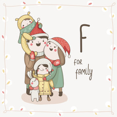 Cute vector alphabet Christmas. Letter F - Family
