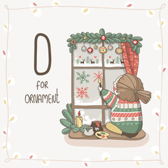 Cute vector Alphabet Christmas. Letter O - Ornament