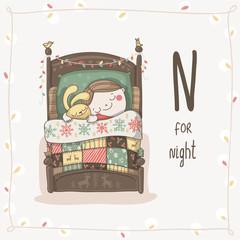 Cute vector Alphabet Christmas. Letter N - Night