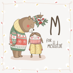 Cute vector Alphabet Christmas. Letter M - Mistletoe