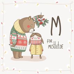 Cute vector Alphabet Christmas. Letter M - Mistletoe