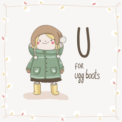 Cute vector Alphabet Christmas. Letter U - Ugg Boots