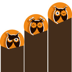 Three icons with brown owl