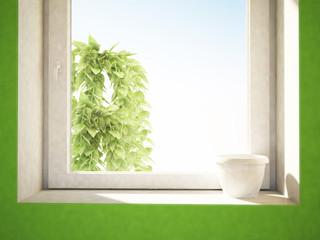 white pot on the windowsill
