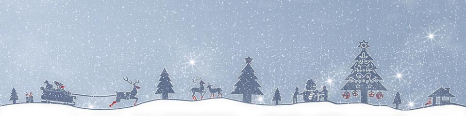 cb28 ChristmasBanner - Schnee ohne Text - türkis 4zu1 - g2674