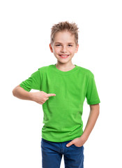 T-shirt on young man in front and behind