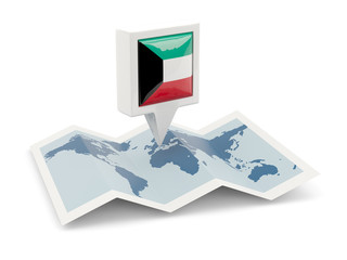 Square pin with flag of kuwait on the map