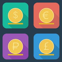Coins vector icon.