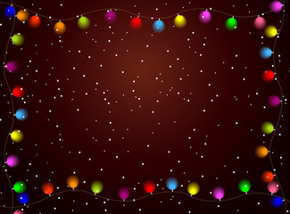 christmas background with bright garlands