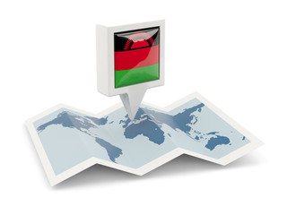 Square pin with flag of malawi on the map