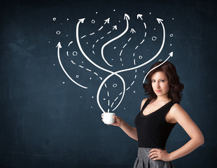 Businesswoman holding a white cup with lines and arrows