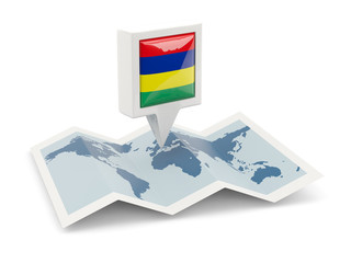 Square pin with flag of mauritius on the map