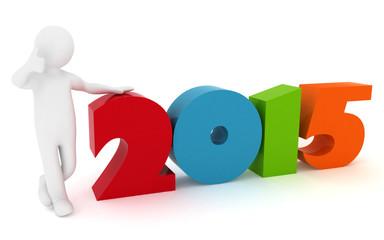 Man presenting new year 2015. 3d illustration