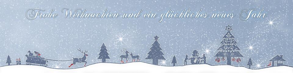 cb30 ChristmasBanner Schnee - deutscher text - 4zu1 türkis g2675