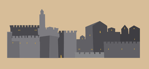 OLd City, Middle East Town, Illustration