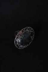 Anello d'argento con malachite druse di quarzo