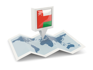 Square pin with flag of oman on the map