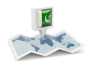 Square pin with flag of pakistan on the map