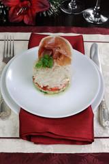 Vegetable salad with jamon