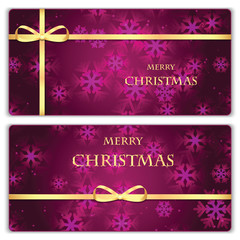 Set of Christmas and New Year banners with snowflakes and gold r