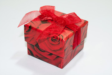 Red gift box on the white background