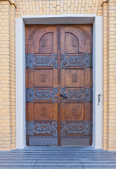 Door of Cathedral of St Stanislaus Kostka (1912) in Lodz, Poland