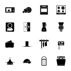 Kitchen silhouettes icons set
