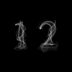 Smoke font. Numbers 1 2