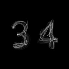 Smoke font. Numbers 3 4