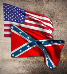 usa and confederate flag