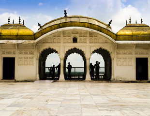 Admiring the Taj Mahal from the golden pavilions of Agra Fort