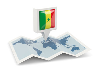 Square pin with flag of senegal on the map
