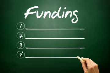 Hand drawn Funding blank list, business concept on blackboard