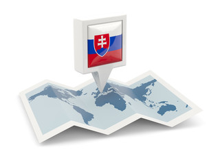Square pin with flag of slovakia on the map