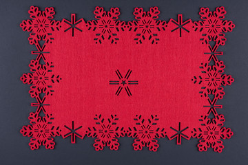 Unusual christmas background with snowflakes and copy space