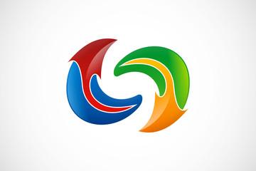 circle arrow unusual logo vector