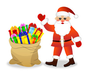 Santa claus and sack with bright gift boxes