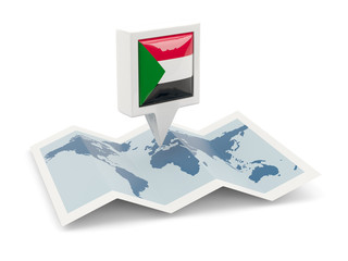 Square pin with flag of sudan on the map