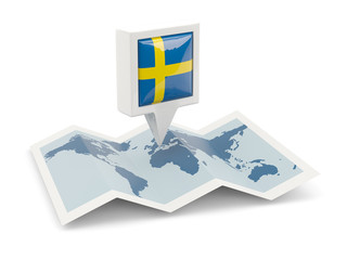 Square pin with flag of sweden on the map