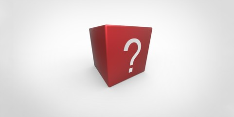 3D red cube with white question mark