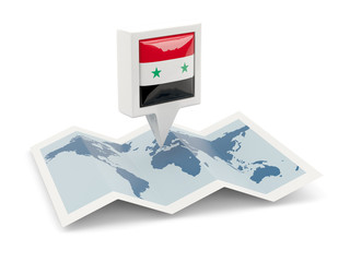Square pin with flag of syria on the map