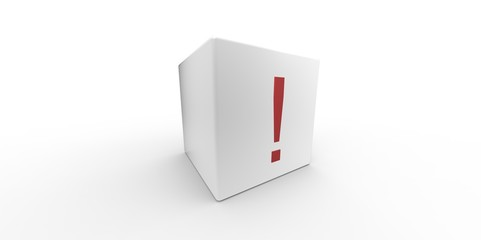3D white cube with red exclamation mark