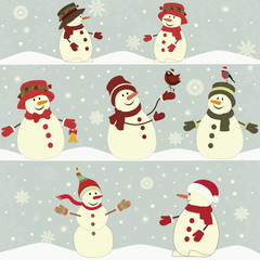 Card with set of Christmas snowmen