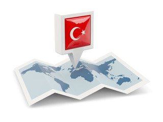 Square pin with flag of turkey on the map