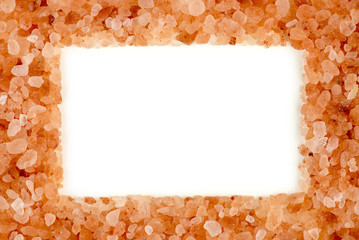 Stylish himalayan rock salt frame with aerial white copyspace
