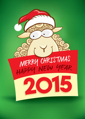 2015 new year card with cute sheep